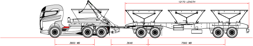 16 TON SKIP LIFTING UNIT & 4 AXLE DRAWBAR SKIP TRAILER